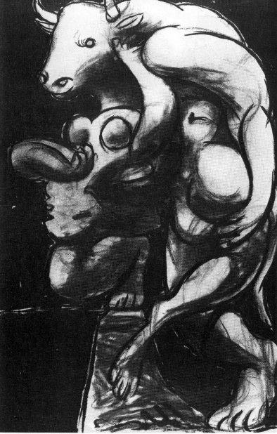 Picasso-1933-Minotaure et nu (Le Viol)